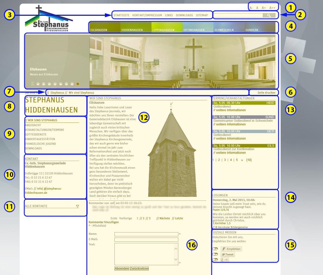 Übersicht über die Stephanus-Webseite